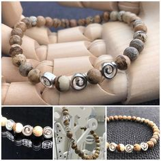 Sale! Spiral Bracelet with Picture Jasper and Silver Swirls. 6mm beads on crystal elastic. $45 not including postage. #marshyrjewellery