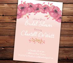 Printable Bridal Shower Invitation Pink Floral by SixDaysCreations