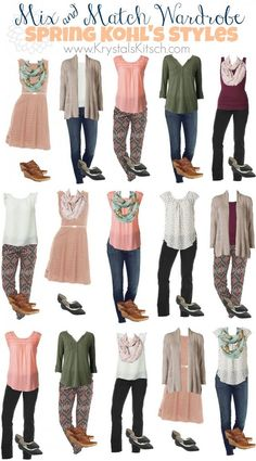 Frugal Spring Fashion see how we took 14 pieces of clothing and shoes and created 15 beautiful and frugal outfits for Spring These cost only 23 per outfit Look Fashion, Womens Fashion, Fashion Tips, Fashion Trends, Fashion Ideas, Fashion Clothes, Budget Fashion, Feminine Fashion, Clothing Styles