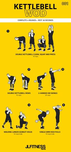 Visual Workouts For Everyone Fitness Workouts, Hiit Training Workouts, Lean Body Workouts, Full Body Kettlebell Workout, Kettlebell Weights, Kettlebell Challenge, Kettlebell Training, Quick Workouts, Boot Camp Workout