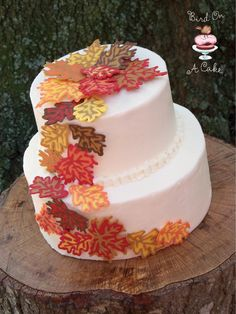 Candy Melt leaves made on wax paper and used to decorate a fall themed wedding cake. http://www.niftythriftythings.com/2012/09/guest-post-bird-on-a-cake.html