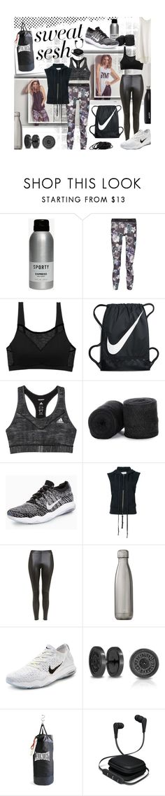 """""""Sweat Sesh: Gym Style"""" by mia-christine ❤ liked on Polyvore featuring Polaroid, Post-It, Express, adidas, Cosabella, NIKE, Greg Lauren, Topshop, Swell and Bling Jewelry"""