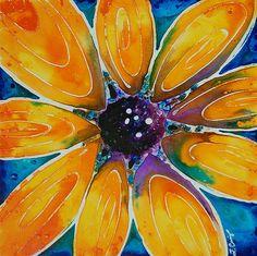 yellow sunflower purple abstract painting by BuyArtSharonCummings, $225.00