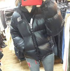 Girl in big shiny puffy jacket Puffy Jacket, Down Coat, Jacket Style, North Face Jacket, The North Face, Zip Ups, Jackets For Women, Winter Jackets, Womens Fashion