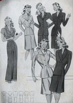Figurini moda anni '40 e '50 | Blog di Collagenfleurs