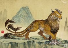 Zheng - A beast from the mythologies of China & Japan. The Zheng was a leopard that had 1 long single horn protruding from its forehead and had 5 tails. The Zheng made the sound of striking stones. It lived in the mountains.