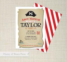 Pirate Birthday invitation . Boy Birthday by HoneyandRosesPress