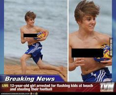 Breaking News .ne Girl Arrested For Flashing Kids. ~ Memes curates only the best funny online content. The Ultimate cure to boredom with a daily fix of haha, hehe and jaja's. Funny Images, Funny Photos, Silly Pics, Funny Cartoons, Funny Jokes, Funny Texts, Justin Bieber, Stupid Memes, Really Funny
