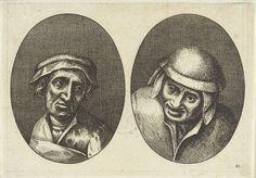 Anonymous   Goelijcke Floor en Ael Pieter-mans, Anonymous, Pieter Brueghel (I), 1612 - 1702   Prent uit een serie van 12 prenten met koppen van boeren en boerinnen.