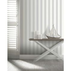 Opera Linen Stripe Wallpaper - Grey at Homebase -- Be inspired and make your house a home. Buy now.