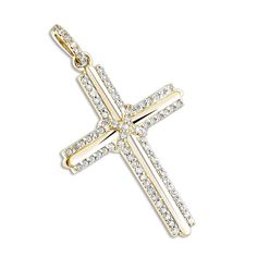 Luxurman 14k Gold 1/3ct TDW Diamond Designer Cross Pendant (G-H, SI1-SI2) (14k Yellow Gold), Women's, Size: 16 Inch