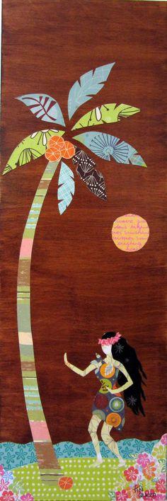 Retro Style Hawaiian Hula Girl and Palm Tree by TikiQueenArts, $65.00