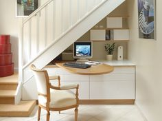 Exceptional Interesting Idea To Have A Desk That Swings Out From On Top Of Cabinetry Under  Stairs