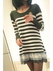 Korean Style Stripe Lace Spot Leaf Knit Dress Atmy Green US$ 14.75 http://www.global-wholesale.net/Korean-Style-Stripe-Lace-Spot-Leaf-Knit-Dress-Atmy-Green_g33151.html