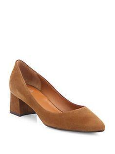 Aquatalia Phoebe Suede Block Heel Pumps In Caramel Manolo Blahnik Heels, Shoes 2017, Brown Shoe, Fashion Heels, Suede Pumps, Low Heels, Cool Style, Kitten Heels, Peep Toe