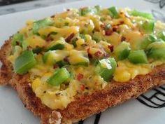 Jain Spicy Corn Toast This++is+a+cheesy+spicy+corn+recipe+which+can+be+served+at+any+time+of+the+day,can+even+be+served+as+a+starter. Garlic Recipes, Veg Recipes, Healthy Dinner Recipes, Breakfast Recipes, Spicy Vegetarian Recipes, Snacks Recipes, Vegetarian Cooking, Sandwich Recipes, Healthy Dinners