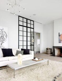 porte coulissante en verre, salon style scandinave avec cloison amovible