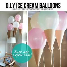 DIY ice cream cone balloons - just add paper cones. So simple. Diy Ice Cream, Ice Cream Party, Ice Cream Theme, Glace Diy, Ice Cream Balloons, Lace Balloons, Helium Balloons, Deco Ballon, Ice Cream Social