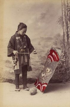 Hand tinted albumen print from unknown studio, Japan.  Titled: hand written below 'Le Cerf-robant' Meiji Era, circa 1880′s