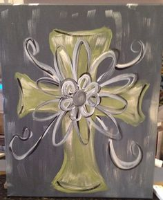Canvas Cross Painting On Stretched Canvas for Your Wall or Shelf!  Acrylic Painted and Sealed! on Etsy, $22.00