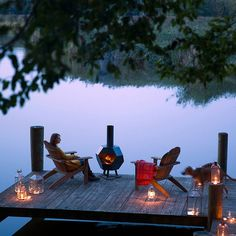Chiminea, adirondack chairs and lanterns on the deck for fall 14 Ways to Decorate Your House for Free: Frame printables or public domain images.