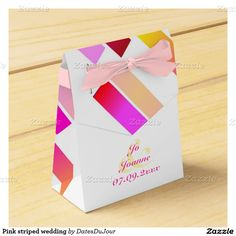 Pink striped wedding favor boxes
