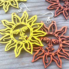 SUN Green Tree Jewelry CHOOSE COLOR laser-cut wood earrings 1004 celestial face #GreenTreeJewelry #DropDangle