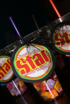 Starburst gift tag idea. 'You are the STAR of our school'