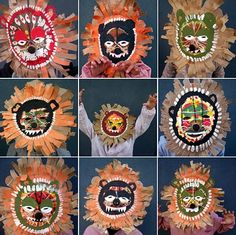 Sadly, no instructions - just amazing shots of a great project RT lion masks (and other incredible african-inspired masks) - fem manual Arte Elemental, African Art Projects, Classe D'art, Afrique Art, 3rd Grade Art, Animal Masks, Masks Art, Kindergarten Art, Art Lessons Elementary