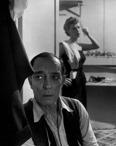 Buster Keaton and his wife Eleanor, backstage at the Cirque Medrano, 1952.