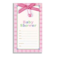 Tweet baby girl baby shower invitations party city 399 for 8 i pink safety pin baby shower embellished invitations celebrate any age milestone birthday birthday party supplies party city filmwisefo