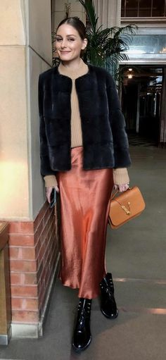 Who made Olivia Palermo's pink skirt, jacket, black boots, and brown handbag? Olivia Palermo Style, Fashion Dictionary, Skirt Fashion, Black Boots, Winter Outfits, Celebrity Style, Winter Fashion, Ootd, Street Style