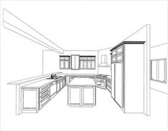 Kitchen Floor Plans and Layouts: Practical Floor Plan Layouts Pay attention to the line weights when hand drawing Home Design, Küchen Design, Design Ideas, Floor Plan Sketch, Floor Plan Layout, Layout Design, Kitchen Decor Items, Kitchen Ideas, Kitchen Conversion