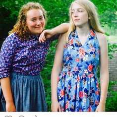 Another pretty photo from @lakesmakerie. Hand made floral lovelies for lovely ladies. On the right, #rosecityhalterdress , #cottonandsteelfabric , #lesfleurs , #sewing, #sewingpattern