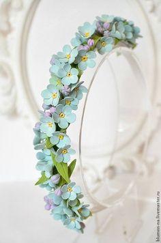 """Купить Ободок """"Небузабудкомания"""" с цветами из полимерной глины - ободок для волос, ободок, ободок с цветами"""