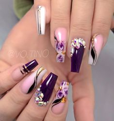 Gorgeous coffin and stiletto nails compare 23 Glam Nails, Fancy Nails, Bling Nails, Stiletto Nails, Beauty Nails, Coffin Nails, Cute Acrylic Nail Designs, Beautiful Nail Designs, Nail Art Designs