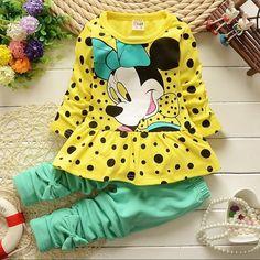 Spring Fashion baby girls clothes cartoon falbala long-sleeved T-shirt +bowknot pants kids clothes leggings cotton clothing set - Ali Style Ali Style