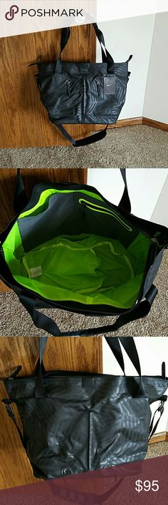 """Nike Formflux tote bag NWT Black Nike Formflux bag with lime green lining~ features dual zipper main compartment for spacious storage~ lots of pockets~ seperate wet/ dry shoe compartment for extra organization~ removable padded shoulder straps for comfort carrying~ small valuables pocket stores fragile items securely~ nylon lining for durability and moisture protection~ Dimensions: 12"""" H x 21"""" W x 9"""" D~ Material: 90% polyester/ 10% cow leather, Lining: 100% nylon~ Brand new with tags, never…"""