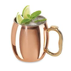 This ultra stylish Moscow Mule mug offers a modern look with ancient craft. Heavy gauge stainless steel with a copper-plated exterior for a long-lasting shine.