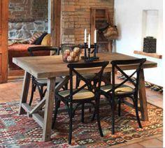 Esstischstuhl in Schwarz Hartholz Rattan TopdesignTopdesign Wood Design, Outdoor Furniture, Outdoor Decor, Rattan, Rustic Wood, Dining Table, Bar, Kitchen, Home Decor