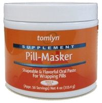 Tomlyn Pill-Masker makes administering pills a breeze!    Pill Masker is a moist, juicy, flavorful and shapeable paste that is perfect for wrapping around any size or shape pill.    One container does it all!    Pill-Masker doesn't stick to fingers, floor, or furniture.    It's worry free!    It doesn't dry out or lose shape.    Pill-Masker is made with only food grade ingredients