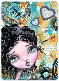 ACEO Mixed Media Big Eyed Art Original Hand Painted Art Card Dreams 6