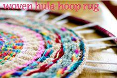 finger woven hula hoop rug,  Make several into one big rug!  http://www.flaxandtwine.com/2012/02/woven-finger-knitting-hula-hoop-rug-diy.html