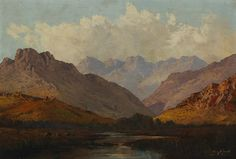 Thinus de Jongh    STREAM IN A MOUNTAINOUS LANDSCAPE    signed oil on canvas      minor surface dirt, age cracks to the sky area, otherwise good general condition   32 by 47cm Illustrations Posters, Gabriel, Oil On Canvas, Landscapes, Surface, African, Age, Fine Art, Plants