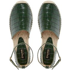 Dune Black Lizzie Leather Croc Espadrilles, Green (1 320 ZAR) ❤ liked on Polyvore featuring shoes, sandals, leather sandals, low heel sandals, green shoes, espadrilles shoes and crocs shoes