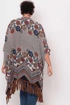 Plus Size Floral Print Fringe Kimono- Black/Ivory Fringe Kimono, Kimono Top, Plus Size Womens Clothing, Clothes For Women, Classy Girl, Latest Trends, Curvy, Floral Prints, Ivory