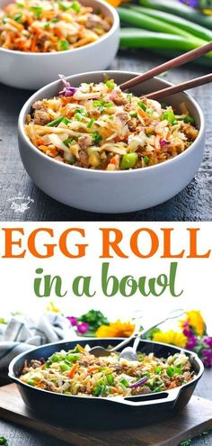 Egg Roll in a Bowl is a healthy one pot meal that's ready in 20 minutes! Ground Beef Recipes | Ground Turkey Recipes | Ground Chicken Recipes | Healthy Dinner Recipes #TheSeasonedMom #chicken #turkey #beef #dinner #lowcarb #healthydinner
