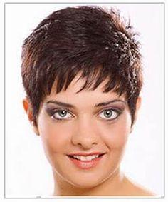 Pixie Haircut With Wispy Bangs   Dark Brown Hairs
