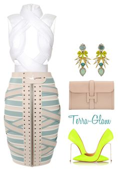 """""""She Stands Out!"""" by terra-glam ❤ liked on Polyvore featuring Dion Lee, Marina Hoermanseder, Elizabeth Cole, Hermès and Christian Louboutin"""