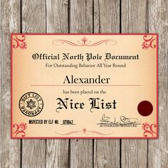 Printable santas nice list certificatediy santa lettersanta claus santas nice list certificate from the north by littlemsshutterbug 600 spiritdancerdesigns